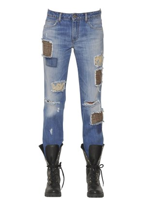 COTTON DENIM JEANS W/WOOL & LACE PATCHES