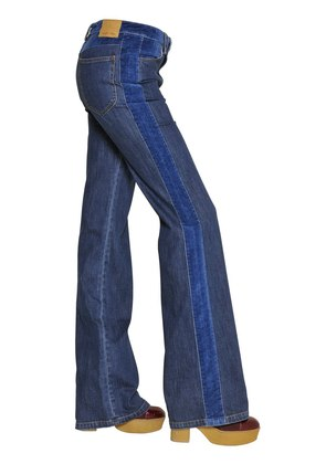 COTTON DENIM AND VELVET JEANS
