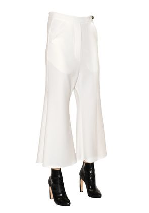 PRIVILEGE CROPPED & FLARED CREPE PANTS