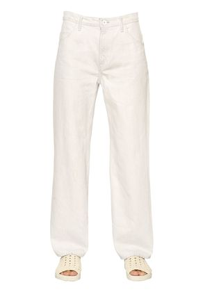 CROPPED VINTAGE WHITE COTTON DENIM JEANS