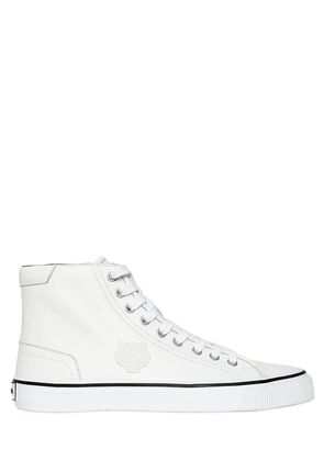 TIGER PATCH LEATHER HIGH TOP SNEAKERS
