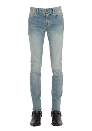 15CM DESTROYED KNEES STRETCH DENIM JEANS