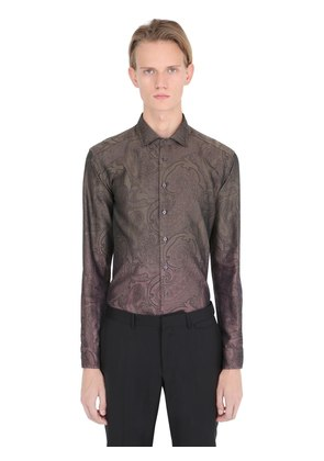 GRADIENT PAISLEY JACQUARD COTTON SHIRT