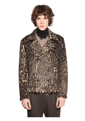 DOUBLE BREASTED FAUX LEOPARD FUR JACKET