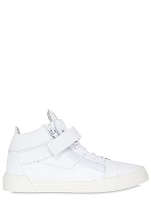 RUBBERIZED LEATHER MID TOP  SNEAKERS