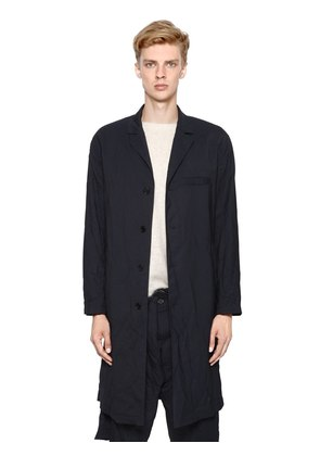 WRINKLED LIGHT WOOL GABARDINE OVERCOAT