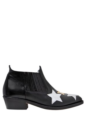 30MM STARS LEATHER ANKLE BOOTS