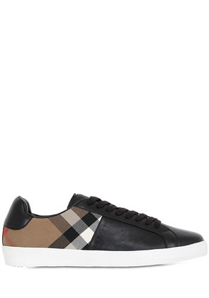 CHECK COTTON CANVAS & LEATHER SNEAKERS
