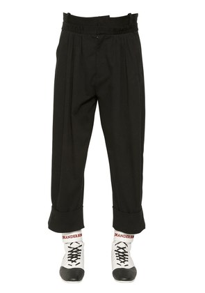 PLEATED COTTON CANVAS HIGH WAISTED PANTS