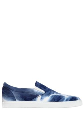 TIE DYED COTTON CANVAS SLIP-ON SNEAKERS