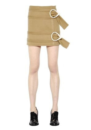 BELTED LIGHT WOOL MINI SKIRT