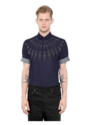 FLASHES DOUBLE WEAVE COTTON SHIRT