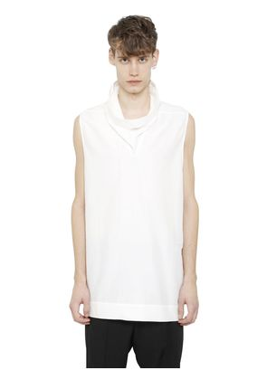 SLEEVELESS COTTON & SILK POPLIN SHIRT
