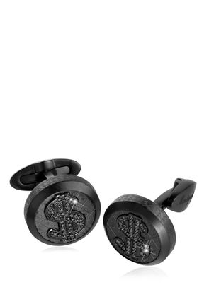 DOLLAR SIGNS BLACK CRYSTALS CUFFLINKS