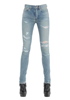 WASHED & DESTROYED COTTON DENIM JEANS