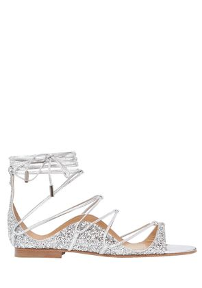 10MM GLITTERED LACE-UP SANDALS