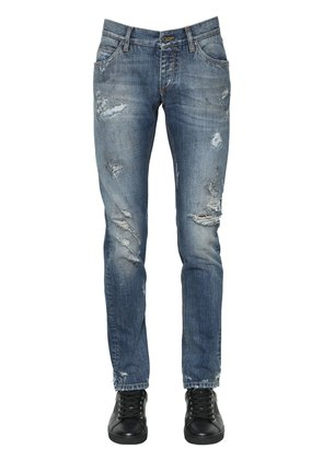 17CM DESTROYED COTTON DENIM JEANS