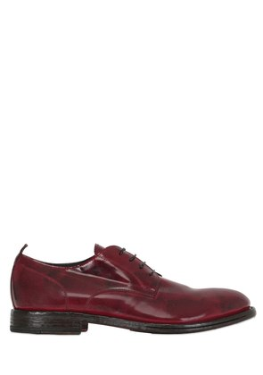 BRUSHED LEATHER DERBY LACE UP SHOES