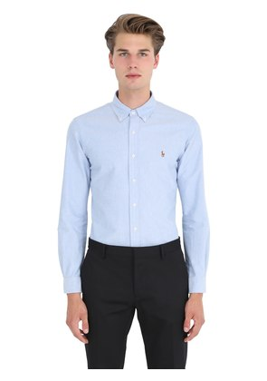 SLIM FIT COTTON POPLIN BUTTON DOWN SHIRT
