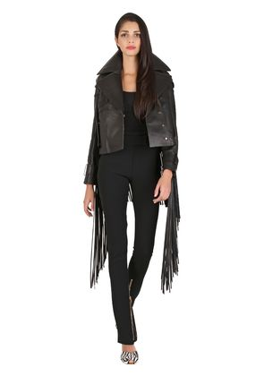 CROPPED LEATHER JACKET WITH FRINGE