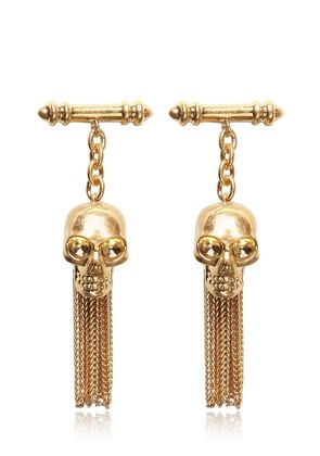 SKULL BRASS CHAINED CUFFLINKS