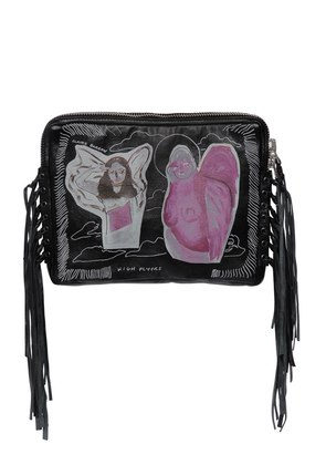 FRINGED & PRINTED NAPPA LEATHER CLUTCH