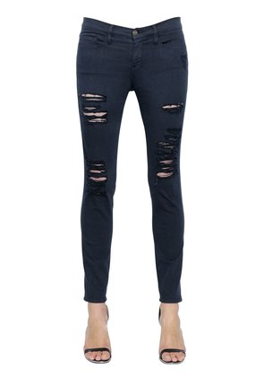 LE COLOR DESTROYED STRETCH DENIM JEANS