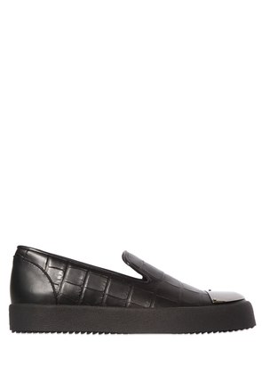 CROC EMBOSSED LEATHER SLIP-ON SNEAKERS