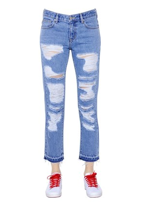 DESTROYED COTTON DENIM JEANS