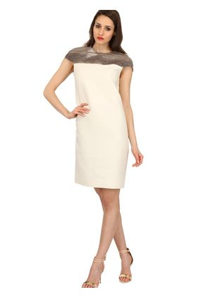 WOOL BLEND GAUZE & SNAKESKIN DRESS