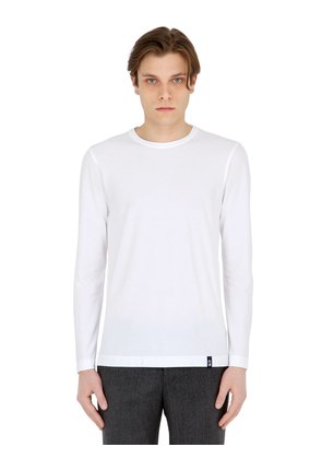 COTTON CREPE JERSEY LONG SLEEVE T-SHIRT