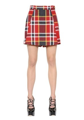 PLAID WASHED COTTON & WOOL SKORT