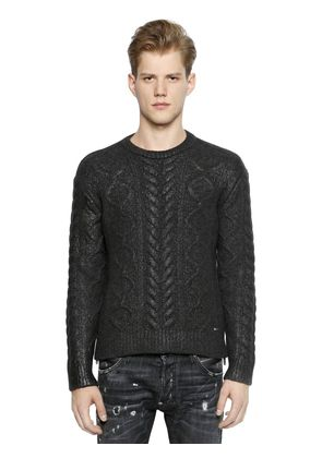 COATED WOOL BLEND CABLE KNIT SWEATER