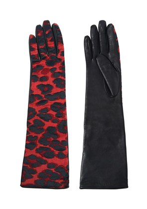 SHINY LEOPARD JACQUARD GLOVES