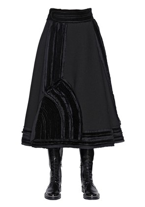 STRETCH WASHED CREPE MIDI SKIRT