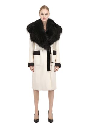 FOXFUR COLLAR DOUBLE WOOL CREPE COAT