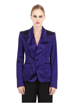 SHINY HEAVY STRETCH SATIN JACKET