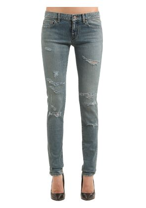 DESTROYED STRETCH COTTON DENIM JEANS