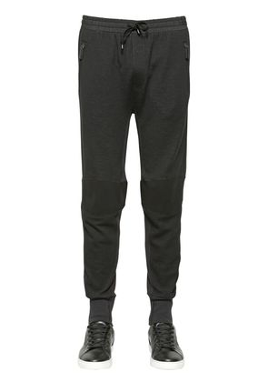 STRETCH WOOL BLEND BIKER JOGGING PANTS