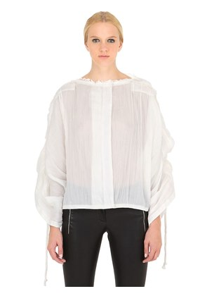 PLEATED COTTON RAMIE TOP