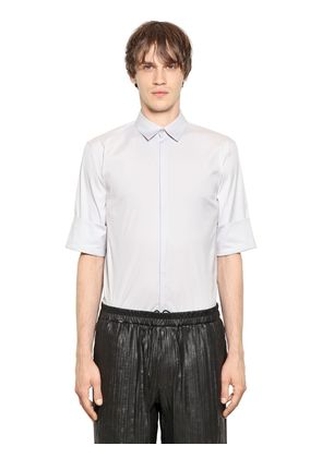 STRETCH COTTON BLEND POPLIN SHIRT