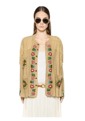 BEAD EMBELLISHED FRINGED SUEDE JACKET