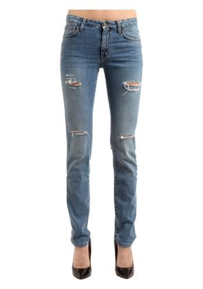 MID-RISE DESTROYED COTTON DENIM JEANS