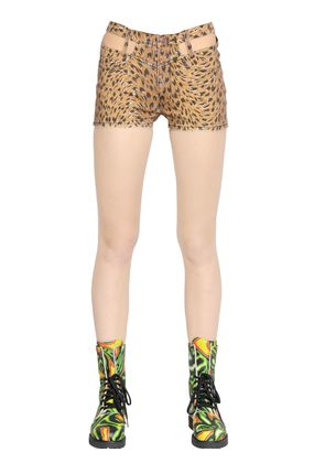 LEOPARD PRINT WASHED COTTON DENIM SHORTS