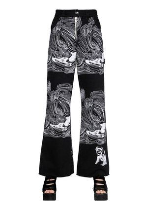 CELL PRINTED COTTON DENIM JEANS