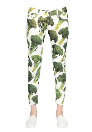BROCCOLI PRINTED COTTON DENIM JEANS