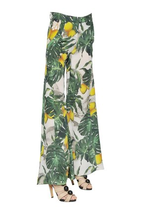 PRINTED SILK CREPE DE CHINE PANTS