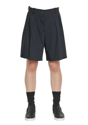 PLEATED STRETCH COOL WOOL SHORTS