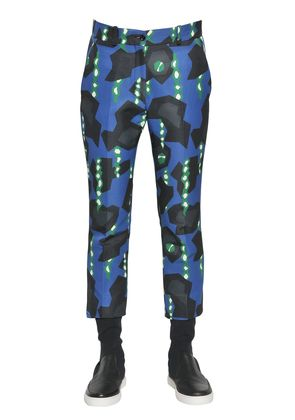 PRINTED COTTON BLEND OTTOMAN PANTS