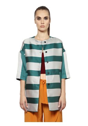 STRIPED TECHNO & SILK DUCHESSE COAT